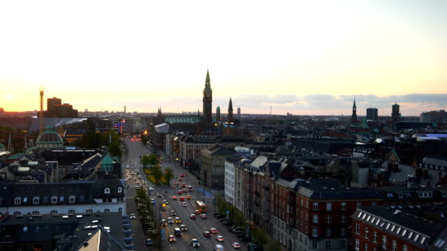 view over copenhagen, denmark at twilight - denmark stock videos & royalty-free footage