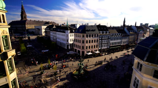 view over copenhagen, denmark with clear blue skies - copenhagen video stock e b–roll