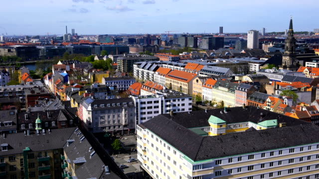view over copenhagen, denmark with clear blue skies - copenhagen stock videos & royalty-free footage