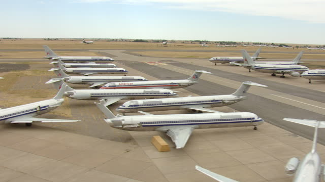WS AERIAL TD View over decommissioned planes / Roswell, New Mexico, United States
