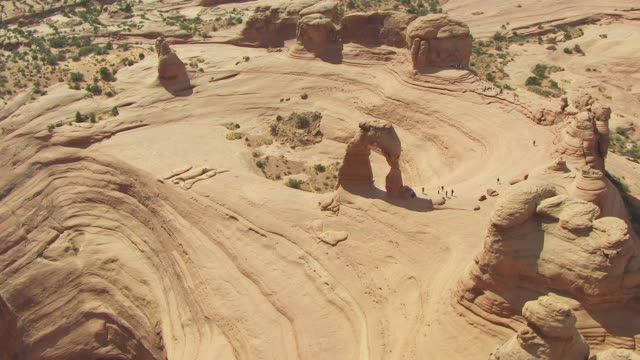 WS AERIAL DS View over Delicate arch at arches national park / Utah, United States