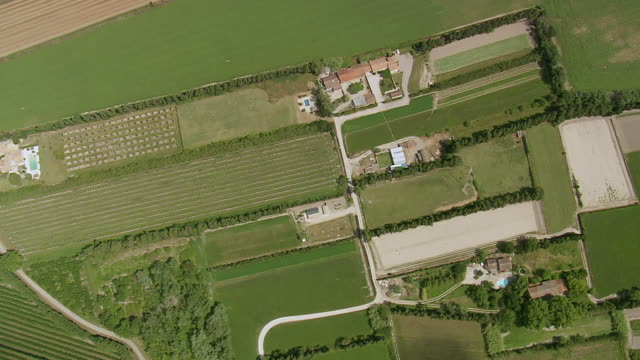 WS AERIAL View over farm fields in St Remy De Provence / Provence Alpes Cote D'Azur, France