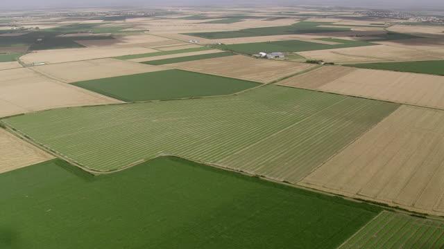 WS AERIAL View over farm fields / Pais de la Loire, France