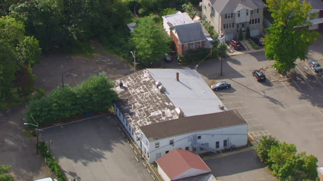 MS AERIAL DS View over first film studio called Champion Film Company / Fort Lee, New Jersey, United States