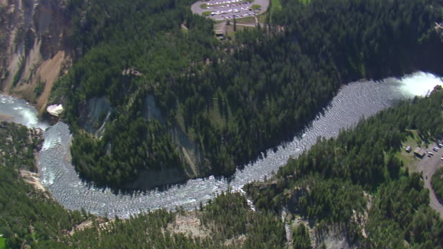 ws aerial pan view over flowing river from valley / wyoming, united states - kiefernwäldchen stock-videos und b-roll-filmmaterial