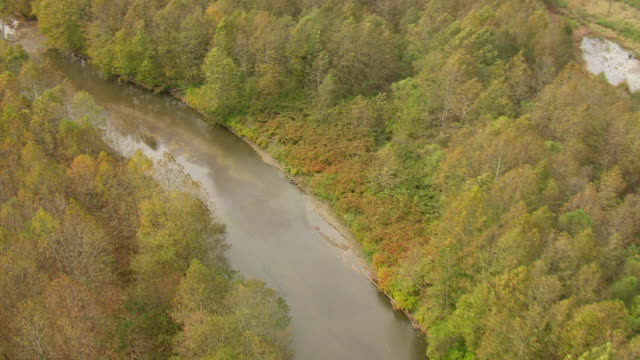 ms ts aerial view over following cuyahoga river as it snakes through land / ohio, united states - fiume cuyahoga video stock e b–roll