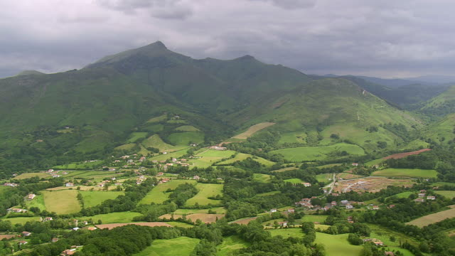 ws aerial view over foothills of pyrenees / basque country, france - aquitaine stock-videos und b-roll-filmmaterial