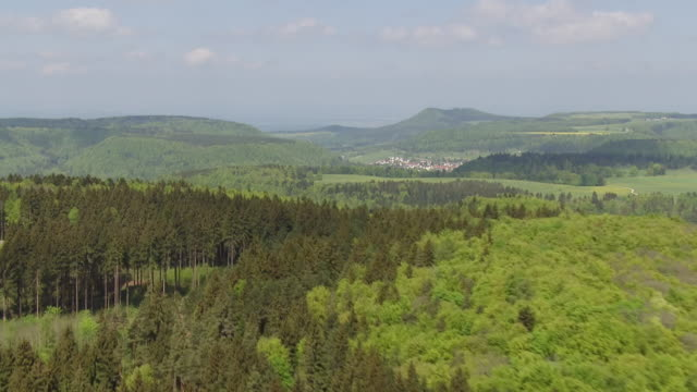 ws aerial view over forest and landscape / bisingen, baden wurttemberg, germany - baden wurttemberg stock videos and b-roll footage
