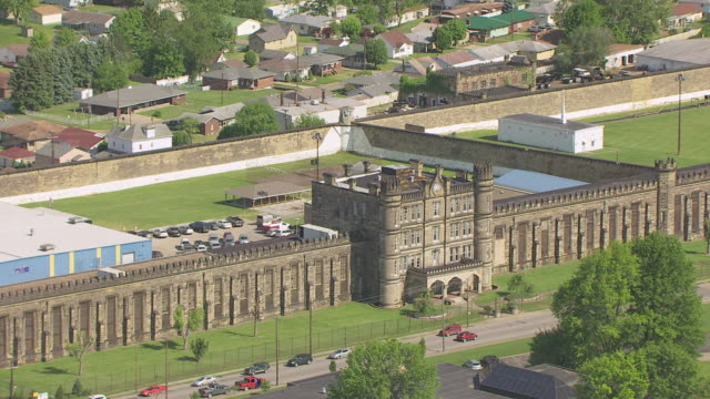 MS ZO AERIAL View over former West Virginia State Penitentiary / Moundsville, West Virginia, United States