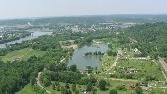 WS AERIAL View over Fort Randolph Reenactment / Point Pleasant, West Virginia, United States