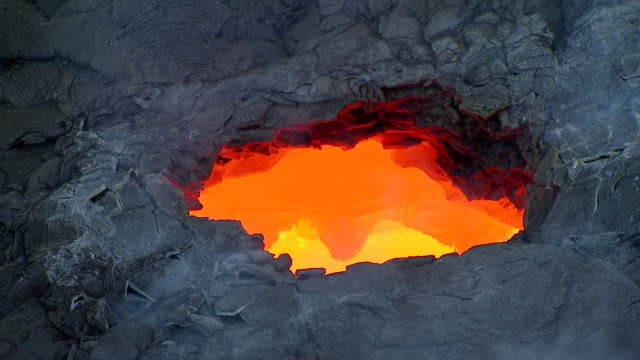 MS AERIAL View over glowing lava from Volcano Kilauea on big island / Hawaii, United States