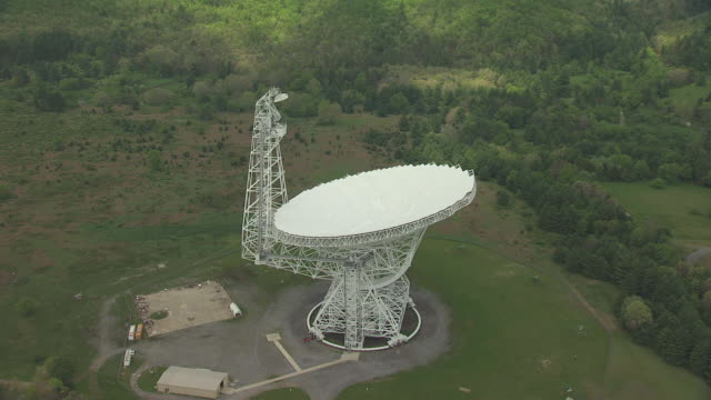 WS AERIAL View over Green Bank Telescope in Pocahontas County / Green Bank, West Virginia, United States