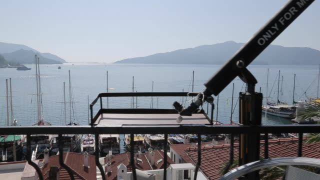 view over harbour and rooftops, marmaris, anatolia, turkey - marmaris stock videos & royalty-free footage