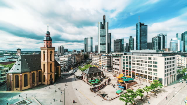 view over hauptwache in frankfurt, germany - kirche stock videos and b-roll footage