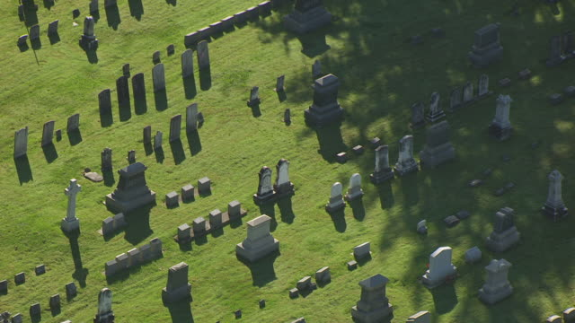 ms aerial view over headstones at cemetery / hope, new jersey, united states - cemetery stock videos & royalty-free footage