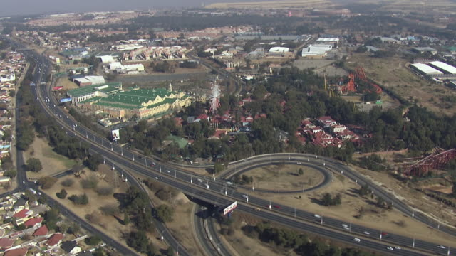 WS AERIAL View over highway / Johannesburg, Gauteng, South Africa