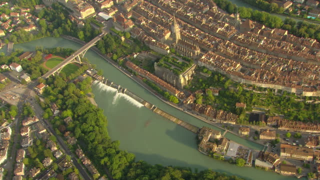 WS AERIAL View over historical center of Bern (2) / Bern, Switzerland