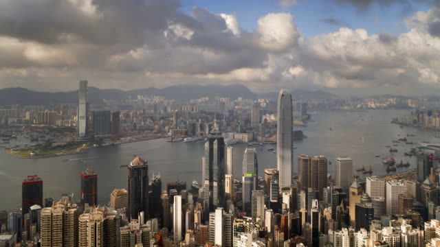 View over Hong Kong from Victoria Peak looking towards Kowloon, the skyline of Central sits below The Peak, Hong Kong, China, Time-lapse