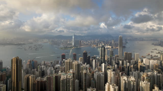 stockvideo's en b-roll-footage met  view over hong kong from victoria peak, skyline of central sits below the peak, hong kong, china, time-lapse - victoria peak