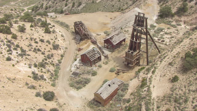 ms aerial ds view over horn silver mine at old frisco mining town / utah, united states - utah stock videos & royalty-free footage