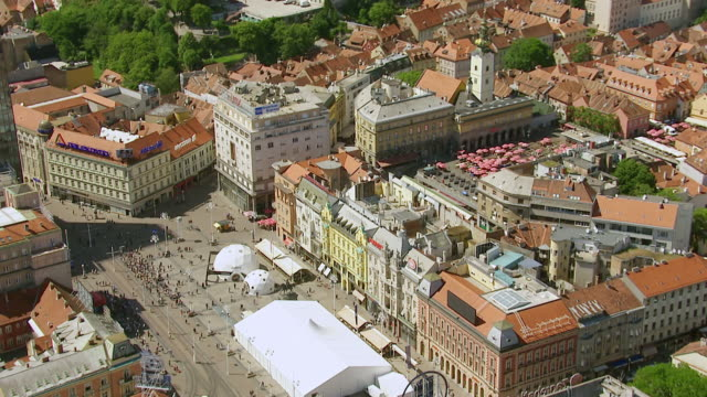 ws aerial zi view over hotels in city / zagreb, croatia - zagreb stock videos & royalty-free footage