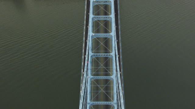 vídeos y material grabado en eventos de stock de ms ts aerial view over john roebling suspension bridge / cincinnati, ohio, united states - río ohio
