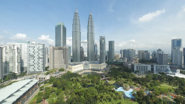 view over kuala lumpur city centre (klcc) & petronas towers, kuala lumpur, malaysia, - kuala lumpur video stock e b–roll