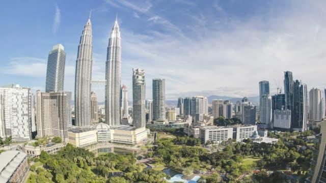 View over Kuala Lumpur City Centre (KLCC) & Petronas Towers, Kuala Lumpur, Malaysia,