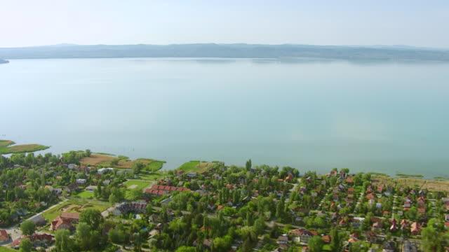 WS AERIAL View over Lake Balaton and town / Balaton, Zala, Somogy, Veszprem, Hungary