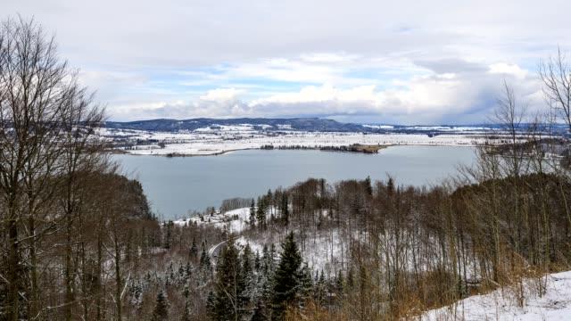 View over lake Kochelsee in winter, Kochel am See, Upper Bavaria, Bavaria, Germany, European Alps