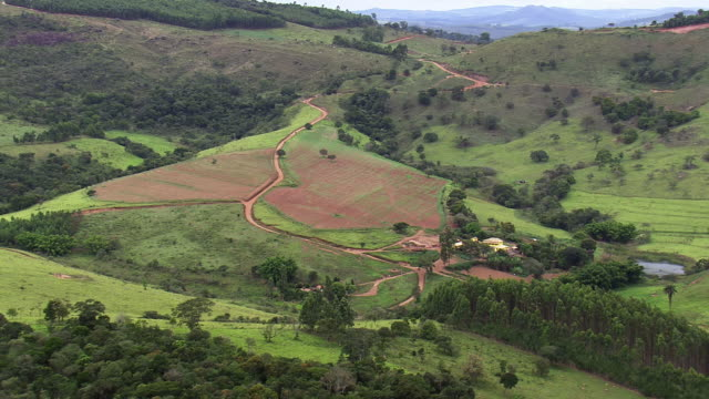 ws aerial view over landscape / minas gerais, brazil - minas stock videos and b-roll footage