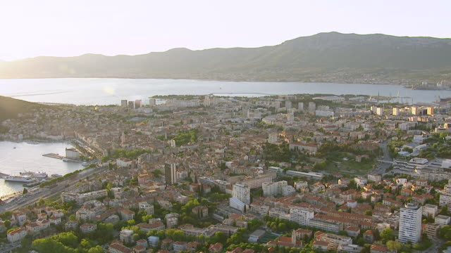 WS AERIAL DS View over largest coastal city on eastern shores of Adriatic sea with several sights / Split, Split Dalmatia County, Croatia