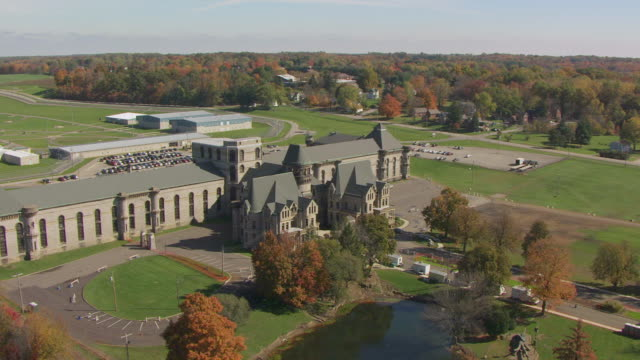 WS AERIAL View over Mansfield Reformatory in Richland County / Mansfield, Ohio, United States
