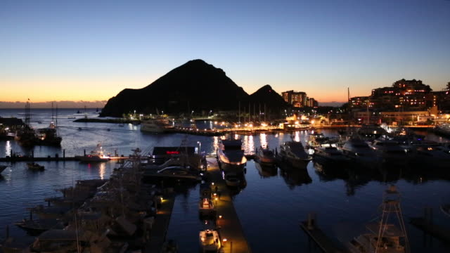 view over marina, before sunrise - cabo san lucas stock videos & royalty-free footage