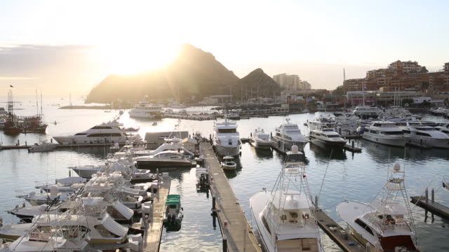 view over marina, sunrise - cabo san lucas stock videos and b-roll footage