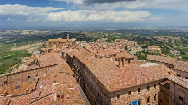 view over montepulciano, tuscany - siena italy stock videos and b-roll footage