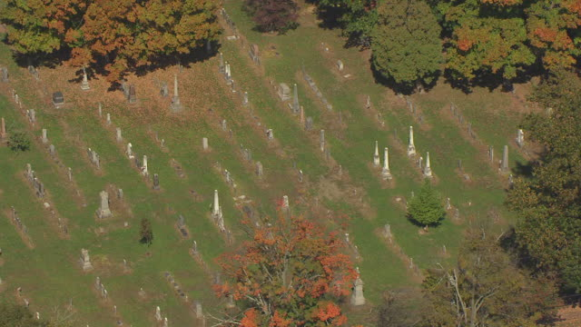 ms zi aerial view over mound cemetery and tombstones / marietta, ohio, united states - cemetery stock videos & royalty-free footage