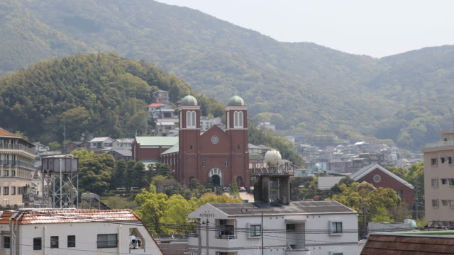 View over Nagasaki with Urakami Cathedral in the background, Japan