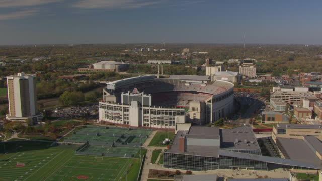 ws aerial view over ohio state football stadium / columbus, ohio, united states - ohio state university stock videos & royalty-free footage