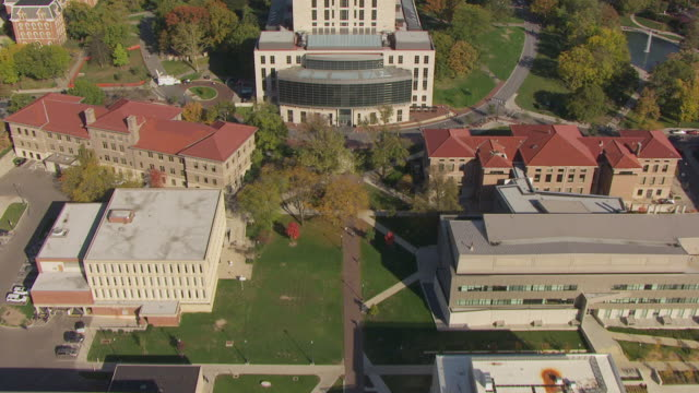 ws td aerial view over ohio state university campus with courtyard / columbus, ohio, united states - ohio stock videos & royalty-free footage