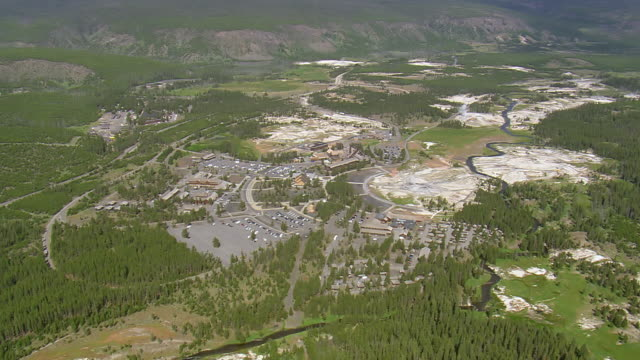ws aerial view over old faithful surrounded by dense forest / wyoming, united states - old faithful geysir stock-videos und b-roll-filmmaterial