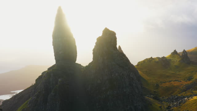 aerial pov ws view over old man of storr, isle of skye/ scotland, uk - scottish highlands stock videos & royalty-free footage