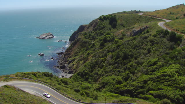 ws aerial view over pacific coast highway / marin county, california, united states - marin stock videos & royalty-free footage