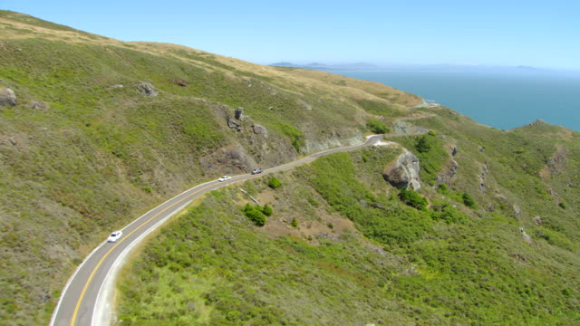 ws ts aerial view over pacific coast highway / marin county, california, united states - coastal road stock videos & royalty-free footage