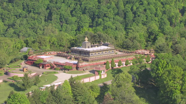 WS TS AERIAL View over Palace of Gold at New Vrindaban in Marshall County / West Virginia, United States