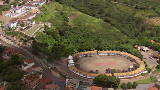 ws aerial view over pilgrimage, congonhas / minas, gerais brazil - religious celebration stock videos & royalty-free footage