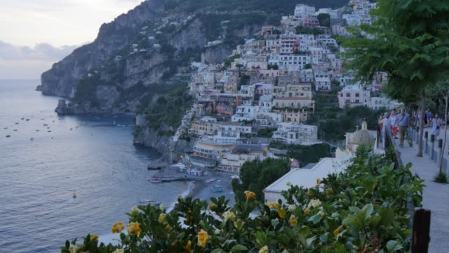 View over Positano at dusk, Costiera Amalfitana (Amalfi Coast), UNESCO World Heritage Site, Province of Salerno, Campania, Italy, Europe