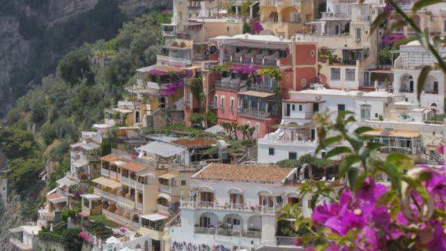 view over positano, costiera amalfitana (amalfi coast), unesco world heritage site, province of salerno, campania, italy, europe - amalfi stock videos and b-roll footage