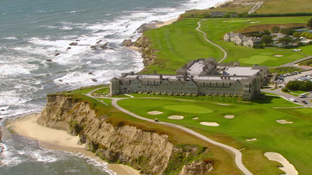 WS AERIAL View over Ritz Carlton Resort and Golf Course / Half Moon Bay, California, United States