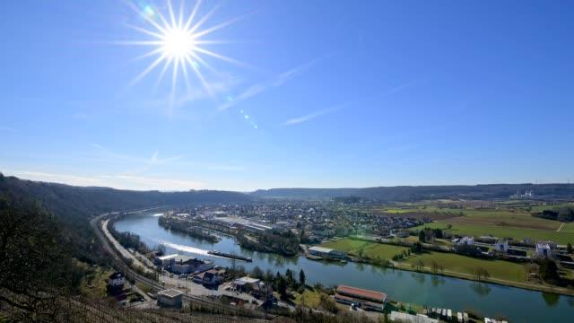 view over river neckar, castle hornberg, neckarzimmern am neckar, baden württemberg, germany - neckar river stock videos & royalty-free footage